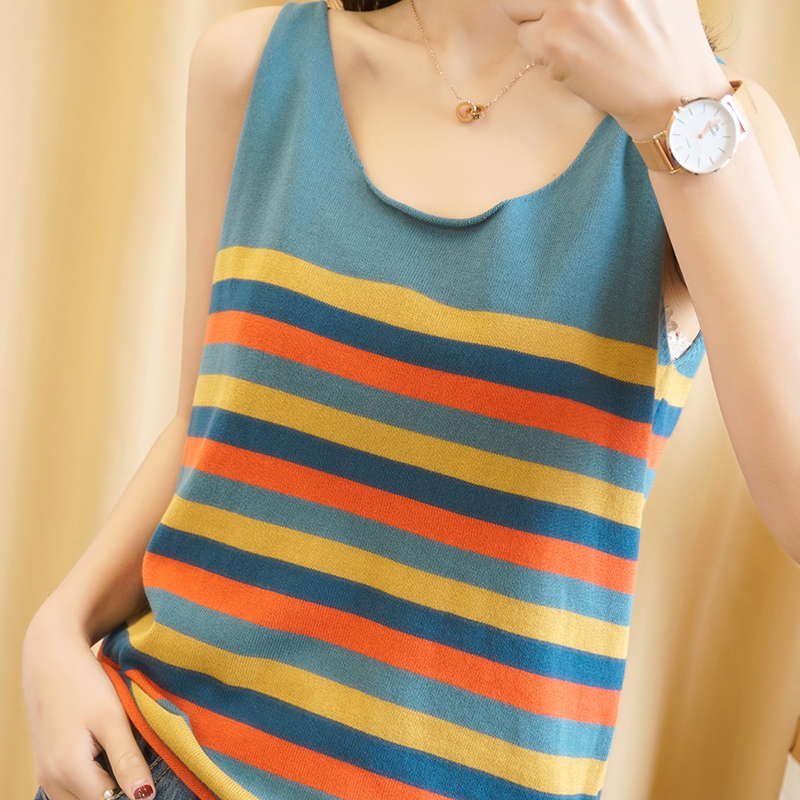 Spring and summer 2020 new pure cotton and hemp knitting small sling sleeveless stripe top sexy vest for women