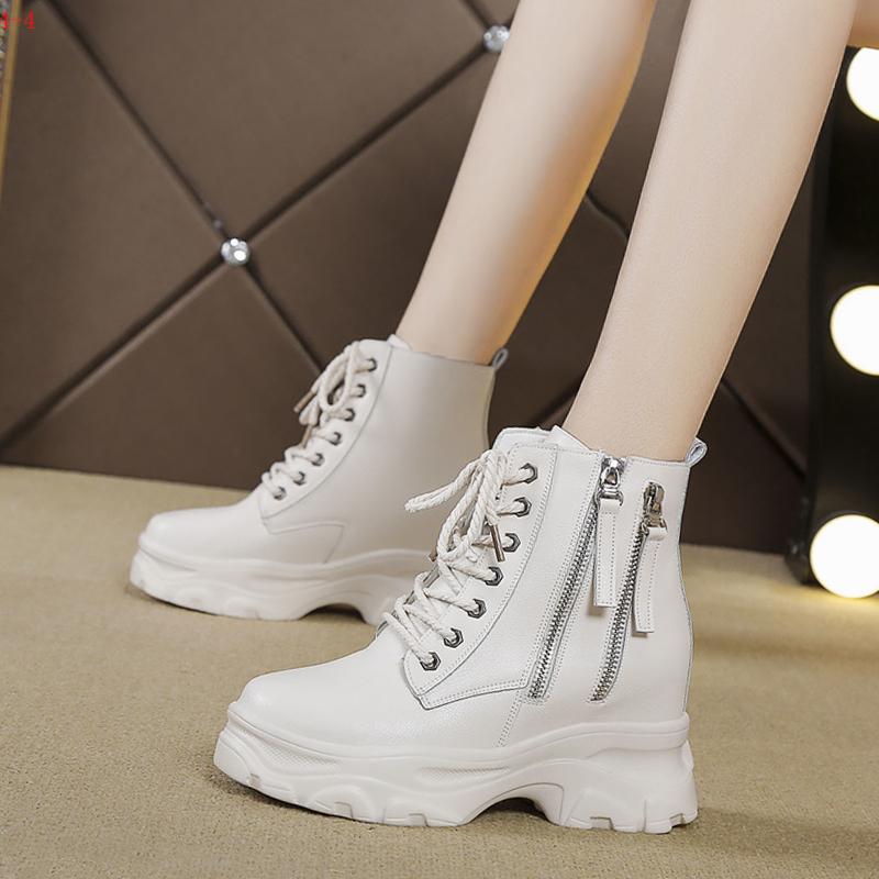 马丁靴女英伦风薄款侧拉链内增高女鞋8cm增高厚底显脚小帅气短靴