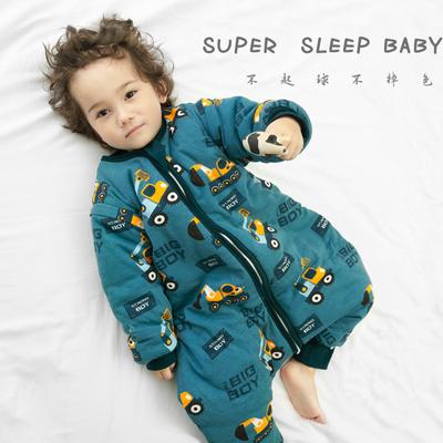 儿童分腿睡袋春秋冬薄棉婴儿防踢被宝宝睡袋可拆袖大童连体睡衣