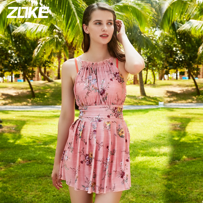 Zoke swimsuit women's split bikini show thin and cover belly multiple piece set holiday swimsuit women's one piece flat angle skirt swimsuit