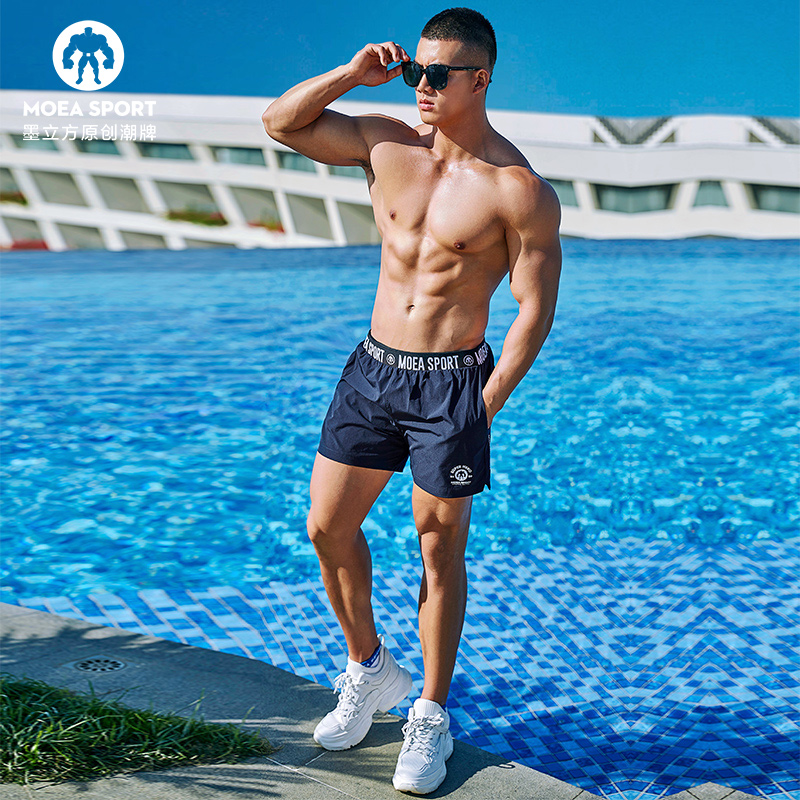 Sports shorts men's fashion brand wear summer pants casual running loose speed dry beach pants fitness pants