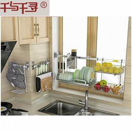厨房置物架壁挂窗户收4纳挂件墙上挂架免钉锅盖架空间不锈钢 套餐图片