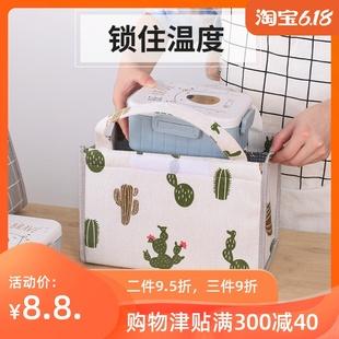 女手提保温袋防水防油午餐便当包上班带饭的饭盒袋子铝箔加厚帆布
