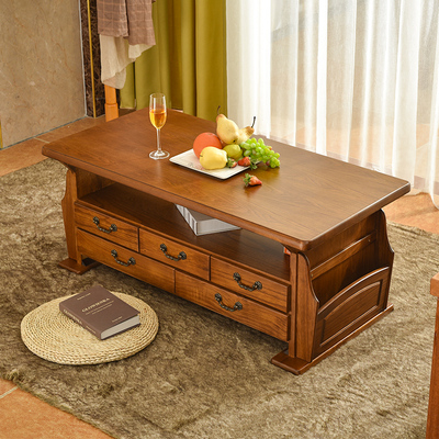 Solid wood coffee table table simple modern new Chinese living room home small apartment tea table light luxury storage table small coffee table