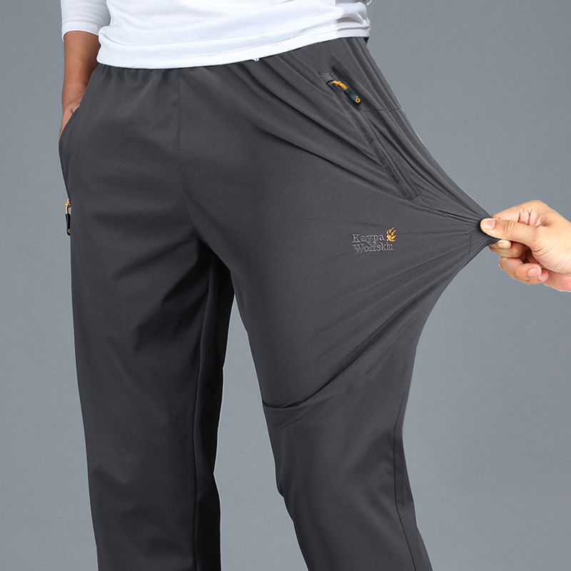 Quick pants men's spring autumn sports pants trousers loose dad dress middle-aged casual straight ice silk work