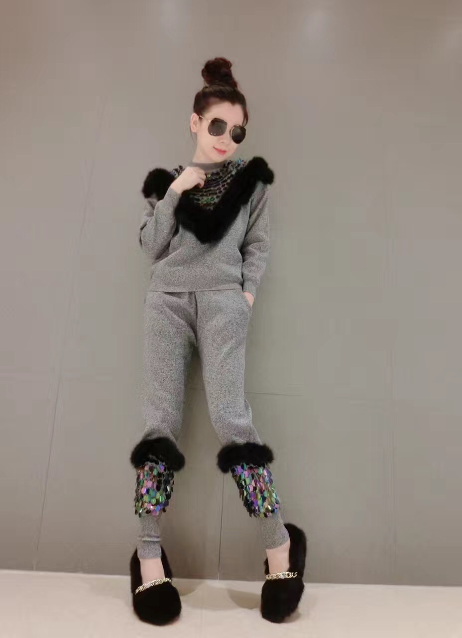 9365#现货水貂毛毛+重工亮片时尚女装针织毛衣套装两件套 实拍
