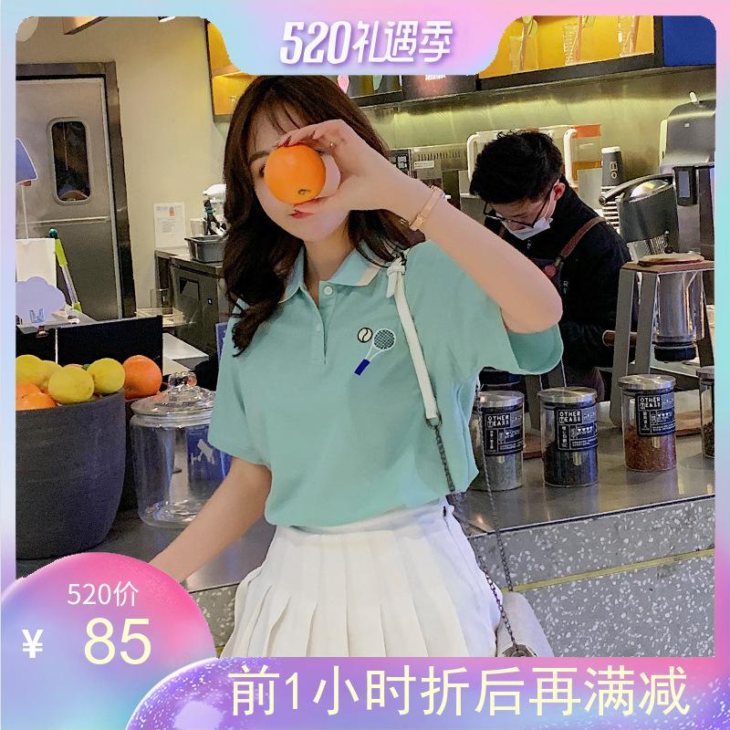 酷酷新款美体上衣的宽松韩版翻领短袖t恤Polo衫女学生2019夏装