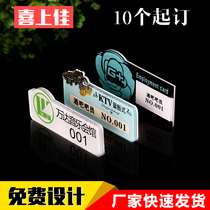 Acrylic Chest brand Custom logo drip plastic smiling face badge PIN Type plate card staff name brand customization