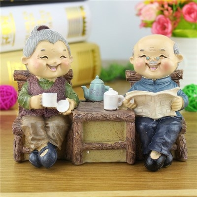 实用创意老头老太摆件相守相伴公公婆婆送父母结婚纪念-老人礼品(晶嘉悦旗舰店仅售70.26元)