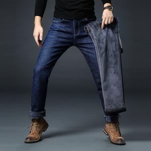 S实拍冬季加绒牛仔裤男直筒中腰商务休闲加厚男裤大码长裤3093