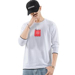 秋长袖t恤男拼接潮牌圆领上衣印花百搭学生打底衫休闲男卫衣8913