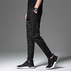X实拍休闲裤男拼接迷彩修身长裤子小脚哈伦裤束脚卫裤男裤X6631