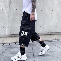 A436-5202-P48控68 高街潮牌流行宽松运动七分裤夏季新款休闲短裤