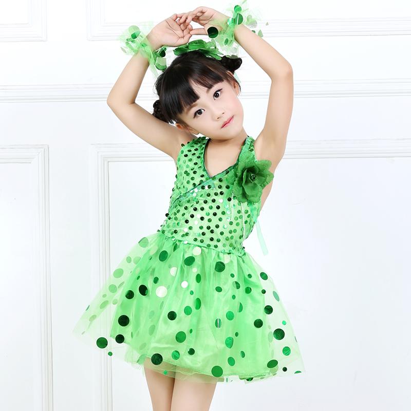 兒童女童亮片小學生跳舞裙