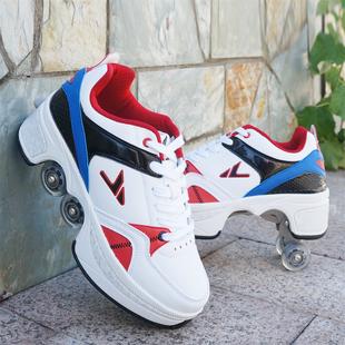 变形鞋两用四轮轮滑鞋暴走鞋旱冰溜冰鞋子自动弹出带有轮子滑轮鞋