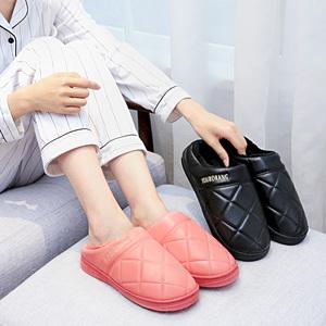 棉拖鞋女2019新款秋冬季情侣室内居家用厚底皮质半包跟保暖棉鞋男