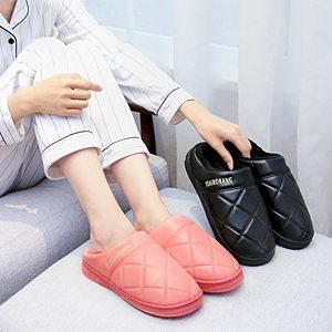 情侣居家防滑厚底皮质棉拖鞋