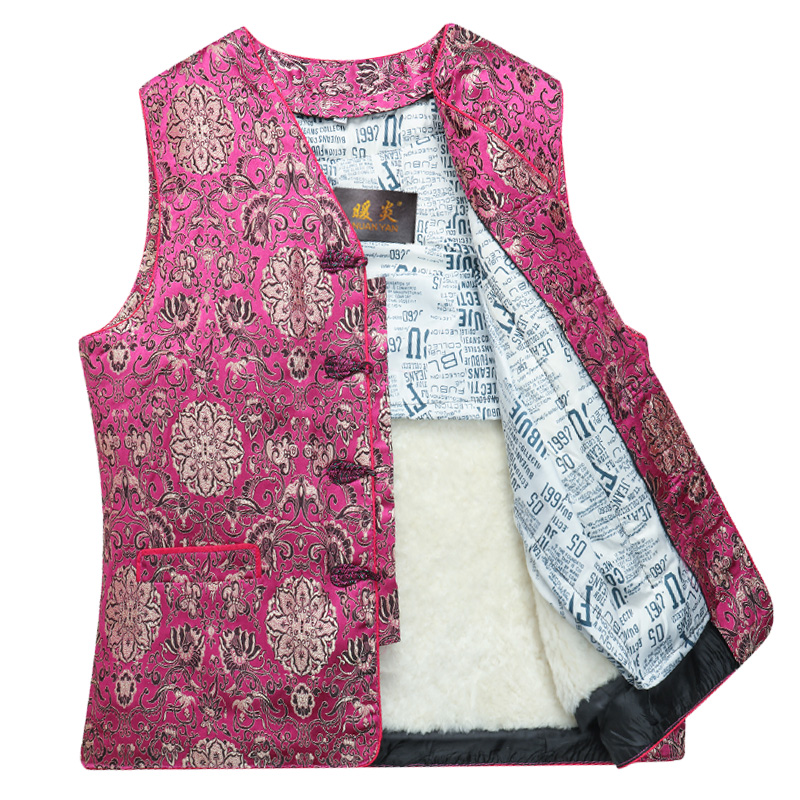 Winter new wool, leather, fur, one body, middle-aged and old womens thickened warm mothers Tang style waistcoat