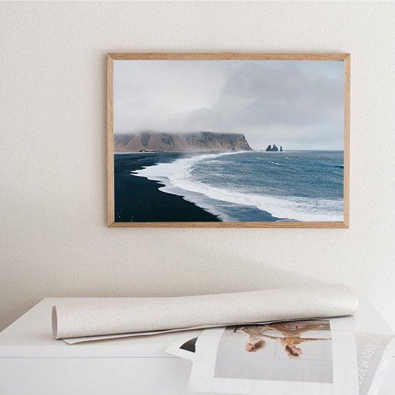 iceland丨冰岛黑沙滩北欧海报画