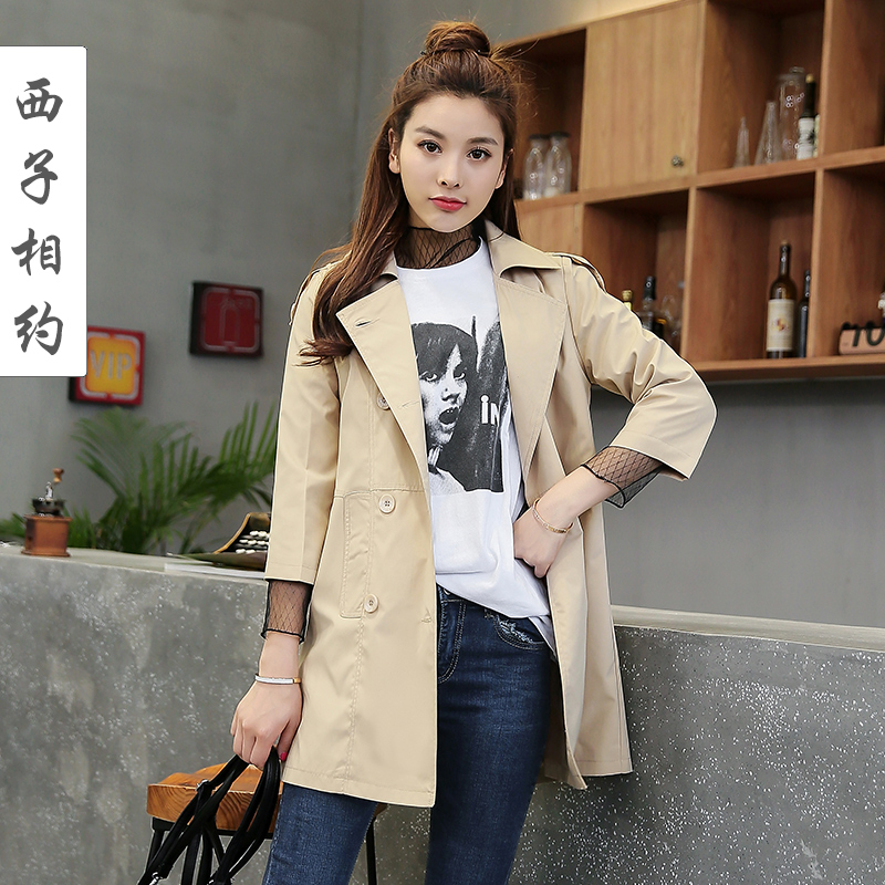 Mid-length double-breasted thin windbreaker women 2018 spring and autumn new Korean casual 7-point sleeve chic jacket small