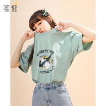 绿色纯棉短袖t恤女宽松2021减龄夏季韩版学生设计感印花体恤上衣