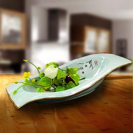 精厨坊大董意境菜创意餐具分子料理酒店用品个性柴纹高低盘餐具盘
