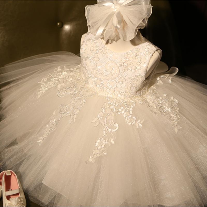 兒童婚紗禮服公主裙女 演出服花童白色蓬蓬連衣裙春