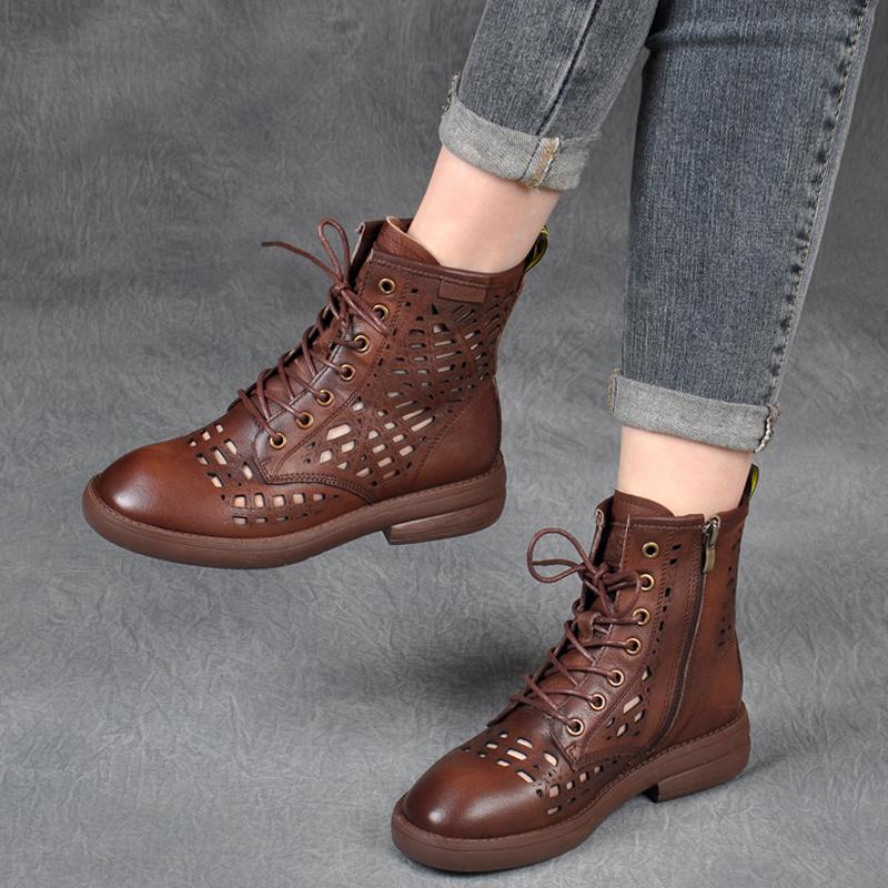 2020春夏新款英伦风镂空真皮系带凉靴休闲中跟帅气复古单鞋女凉鞋
