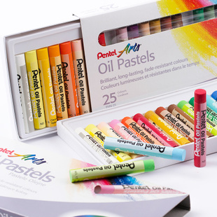 pentel派通25色油画棒 派通油画棒 25色 儿童绘画画笔 软蜡笔 学生涂鸦绘画美术用笔 正品