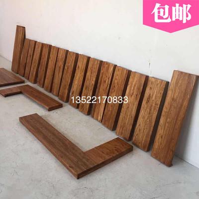 实木桌面板定制老榆木板吧台板楼梯踏步板复古板飘窗原木隔板包邮