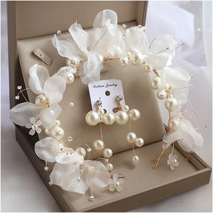新娘頭飾森系仙美髮箍超仙氣串珠造型跟妝伴娘花童配飾品珍珠髮飾