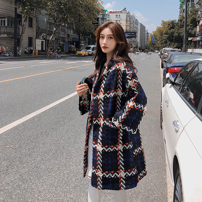 Cape small fragrance coat womens autumn winter thick 2019 medium length British tweed coat is small and loose