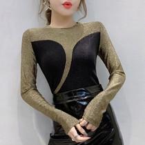 欧洲站2020秋装新款个性拼色T恤女长袖洋气亮丝上衣紧身打底小衫