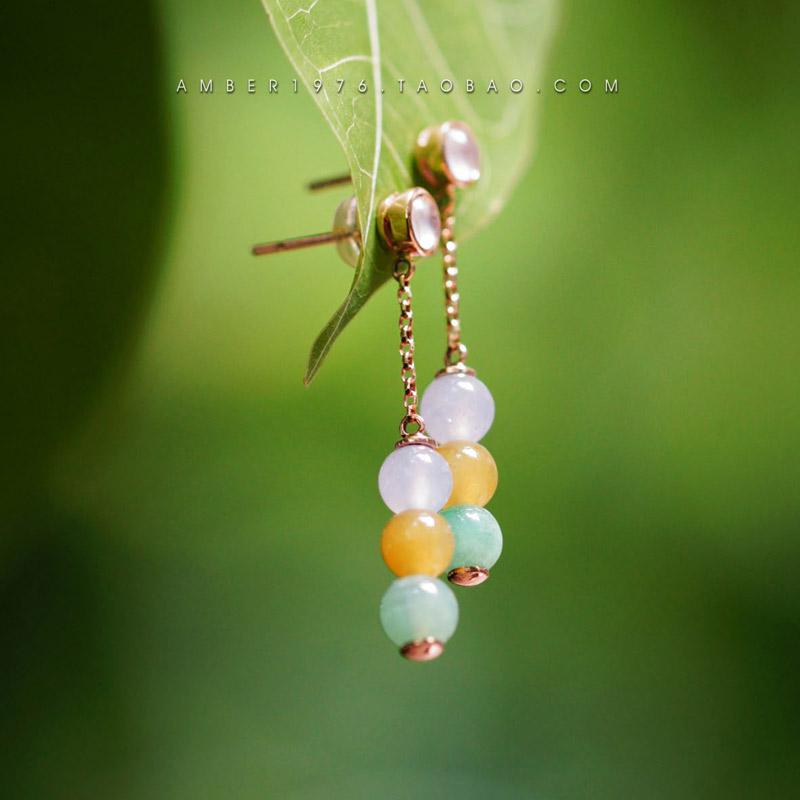 Midsummer nights dream - Myanmar A-type emerald Laokeng ice tricolor emerald 18K Rose Gold Earrings