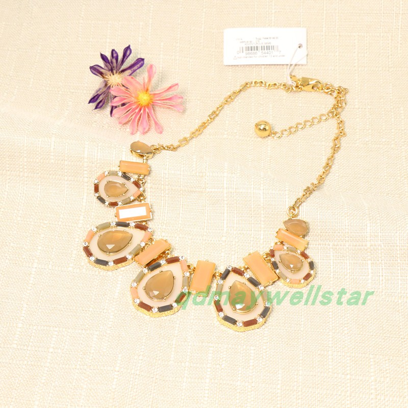 European and American exaggerated atmosphere amber symmetrical Necklace Gold Beads transparent gem clavicle chain