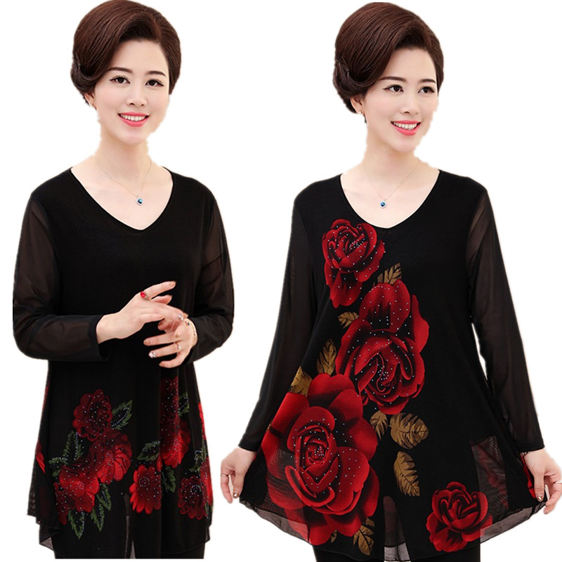 Spring plus fat plus size mothers medium and long long sleeved T-shirt summer middle-aged womens short sleeved top 200kg