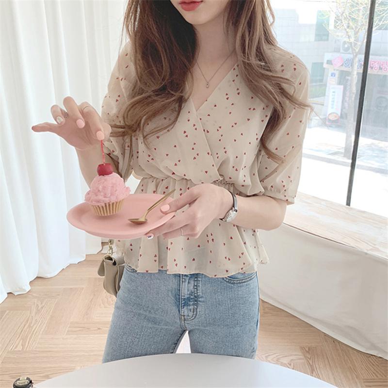 韓國chic洋氣襯衫女設計感小眾復古心機韓版收腰甜美短袖雪紡上衣