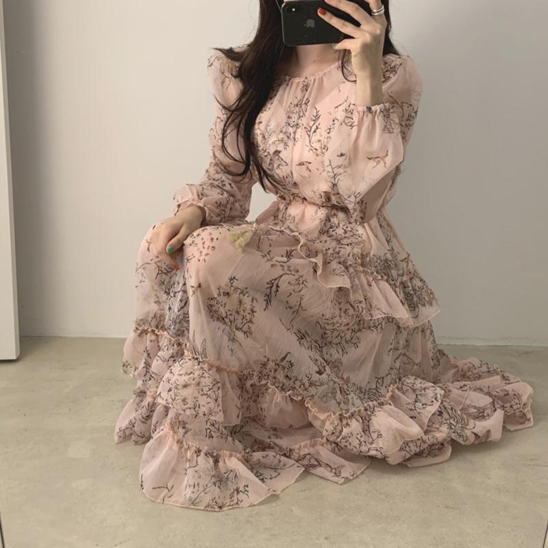 韩国chic优雅气质花色圆领重工荷叶边高腰显瘦飘逸中长款连衣裙女