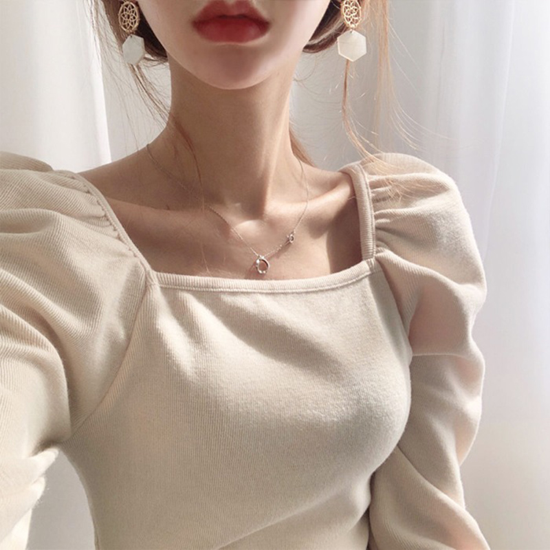 韩国chic秋季洋气方领漏锁骨t恤