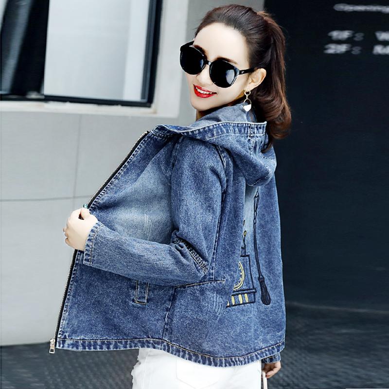 Hooded Denim Jacket Womens loose 2019 new autumn long sleeve top Korean student casual jacket jacket