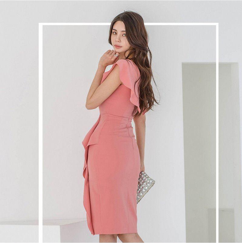 2021 new Korean V slim temperament collar summer womens dress with split buttock and knee Ruffle