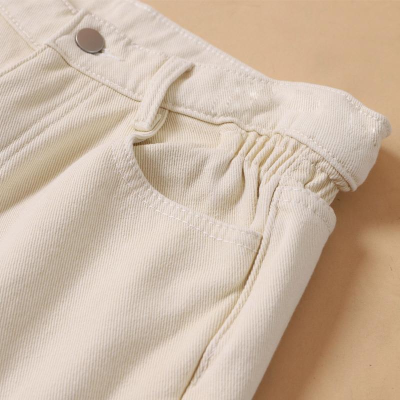 (用10元券)米色裤子女秋装2019年新款高腰宽松白色哈伦牛仔裤直筒老爹萝卜裤