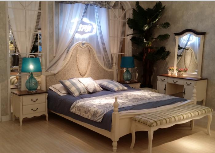 香港皇朝家私北欧风情系列正品M8A004双人实木布艺软靠大床