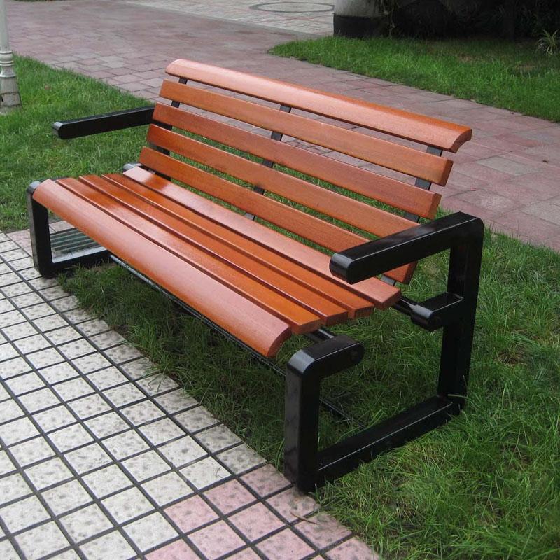 户外防腐公园椅园林休闲椅铁艺公园椅子广场庭院长椅凳子实木长凳
