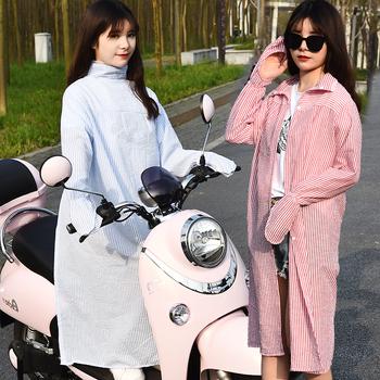 纯棉夏季骑车开电动车摩托车防晒披肩衣披风防紫外线长袖遮阳女