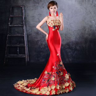 2015 new fall fishtail Bra trailing red cheongsam toast clothing was thin bride wedding banquet evening dress