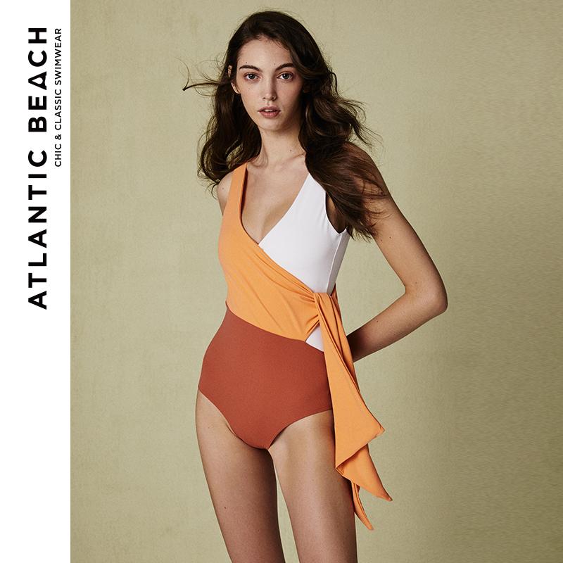 atlanticbeach裹身式三色拼接泳衣