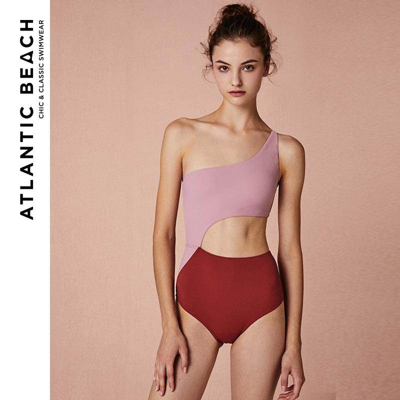 AtlanticBeach单肩泳衣连体女性感ins风复古温泉度假泳装2018新款