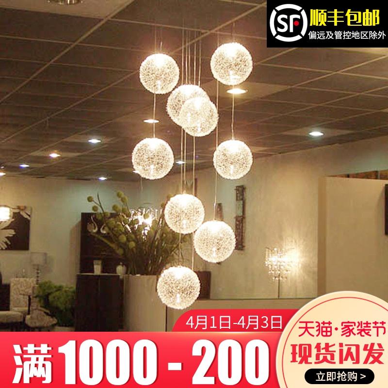 樓梯吊燈現代簡約餐廳中空客廳創意北歐別墅復式旋轉樓梯燈長吊燈
