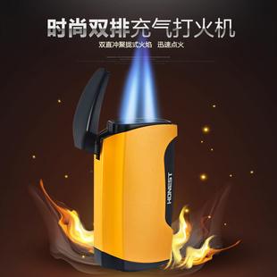 百诚正品双直冲防风打火机 充气男士个性创意便携雪茄烟具打火机价格